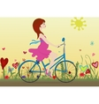 Pregnant girl rides a Bicycle on a blossoming vector image vector image