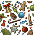 seamless pattern for merry christmas and happy new vector image vector image