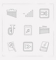 set of audio icons line style symbols with search vector image vector image