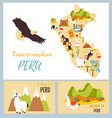 set of tourist cards of peru with landmarks vector image