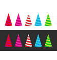 set of varicoloured holiday cap on white and black vector image vector image