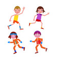 set running boy and girl in winter and summer vector image