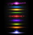 shiny neon lines borders with glow effect vector image vector image