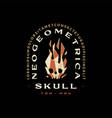 skull fire flame geometric t shirt badge vintage vector image