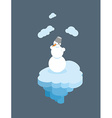 Snowman on floating island Christmas character on vector image vector image