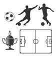 Soccer design elements in black isolated white vector image