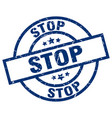 stop blue round grunge stamp vector image vector image