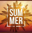 summer dusk background with palm and frame vector image vector image