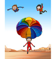 Three people doing skydiving vector image