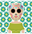 traditional katrina mexican character with floral vector image vector image