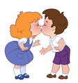 Two kissing children on white background vector image vector image