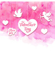 valentine background with cupid and hearts vector image