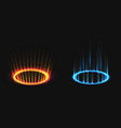 versus neon round blue red glow rays night scene vector image