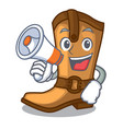 with megaphone cowboy boots in the shape cartoon vector image vector image