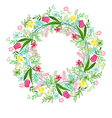wreath with herbs tulips and wild flowers isolated vector image