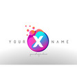 x dots letter logo with bubbles a letter design vector image vector image