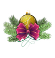 Yellow Christmas ball with bow vector image vector image