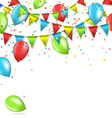 buntings with confetti and air balls isolated on vector image