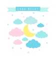 Childish background with moon clouds and stars vector image