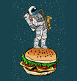 astronaut plays saxophone on a burger vector image
