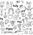 badoodle and lettering seamless pattern vector image vector image