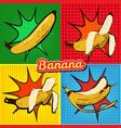 banana opened banana bitten banana peel banana pop vector image vector image