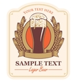 beer label with a glass vector image vector image
