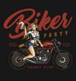 biker party vintage colorful label vector image