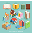 Book Isometric Flat Icons set vector image vector image