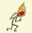 burning match man cartoon vector image