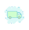 cartoon colored truck car icon in comic style vector image