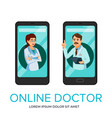 cartoon online doctor app poster template vector image