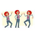 cartoon redhead hippie woman character set vector image