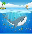 cartoon whale under the sea vector image vector image