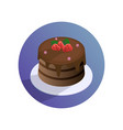 chocolate cake with strawberries on a plate vector image