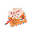 christmas handwritten wish letter to santa claus vector image