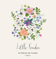 composition with butterflies and flowers vector image