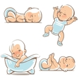 Cute babies in blue clothes vector image vector image