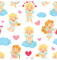 cute baby angel on cloud seamless pattern vector image vector image