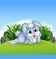 Cute bunny lie down in the jungle vector image vector image