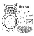 cute cartoon wise owl with mail nest footprints vector image vector image