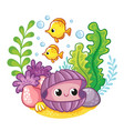 cute clam on bottom sea among algae and vector image