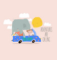 cute elephant and little girl traveling in car vector image vector image