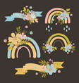 cute rainbow hand drawn modern isolated template vector image