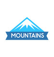 emblem of mountains in blue color logo for vector image vector image