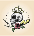 emblem with a skull hand drawing vector image vector image