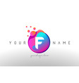 f dots letter logo with bubbles a letter design vector image vector image