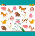 find one farm animal of a kind game vector image vector image