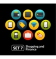 Flat icons set 7 - shopping and finance collection vector image vector image
