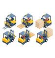 forklift truck storage equipment storage racks vector image